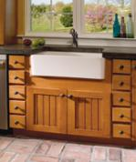 farm sink and apothecary drawers