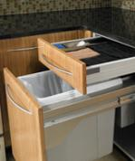 pull out trash bin and towel drawers